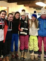 U14 girls from the Waterville Valley Black and Blue Trail Smashers (WVBBTS) Team with their trophy at the 2017 NHARA State Championships at Mount Sunapee on March 12, 2017.