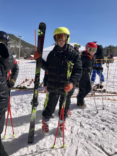 U16 racer with a 17m GS ski that meets the USSA ski length regulations