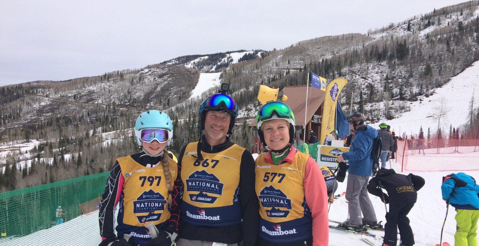 Ski racing dad Rudy Muto of Kutztown PA with his family at NASTAR Nationals 2017 in Steamboat Springs, CO.