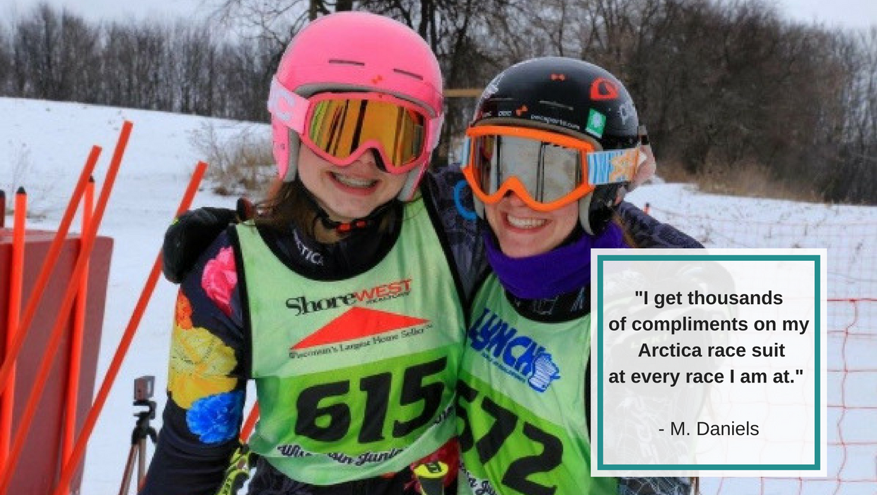 Quote from junior ski racer Martha Daniels about her Arctica race suit.