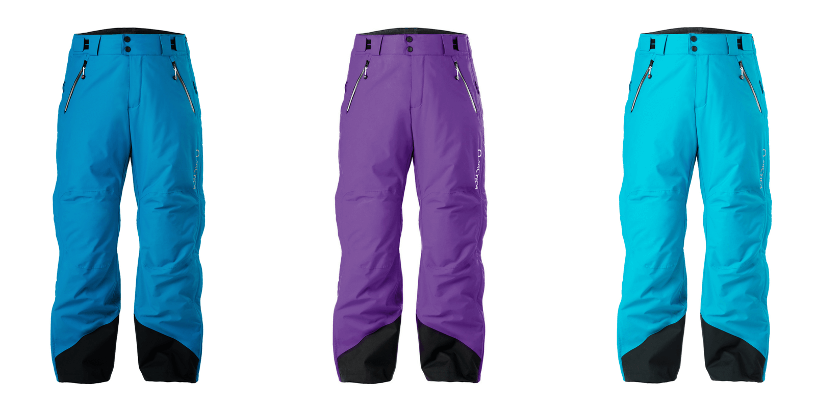 Arctica Side Zip 2.0 pant colors for 2017-18. Ocean, Purple and Sky.