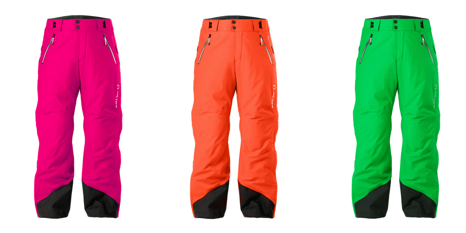 Arctica Side Zip 2.0 neon pant colors for 2017-18. Hot Pink, Tangerine and Lime.