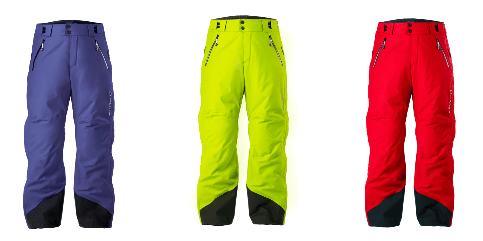 Arctica side zip 2.0 pant colors for 2017-18 Navy, Optic Yellow and Red.