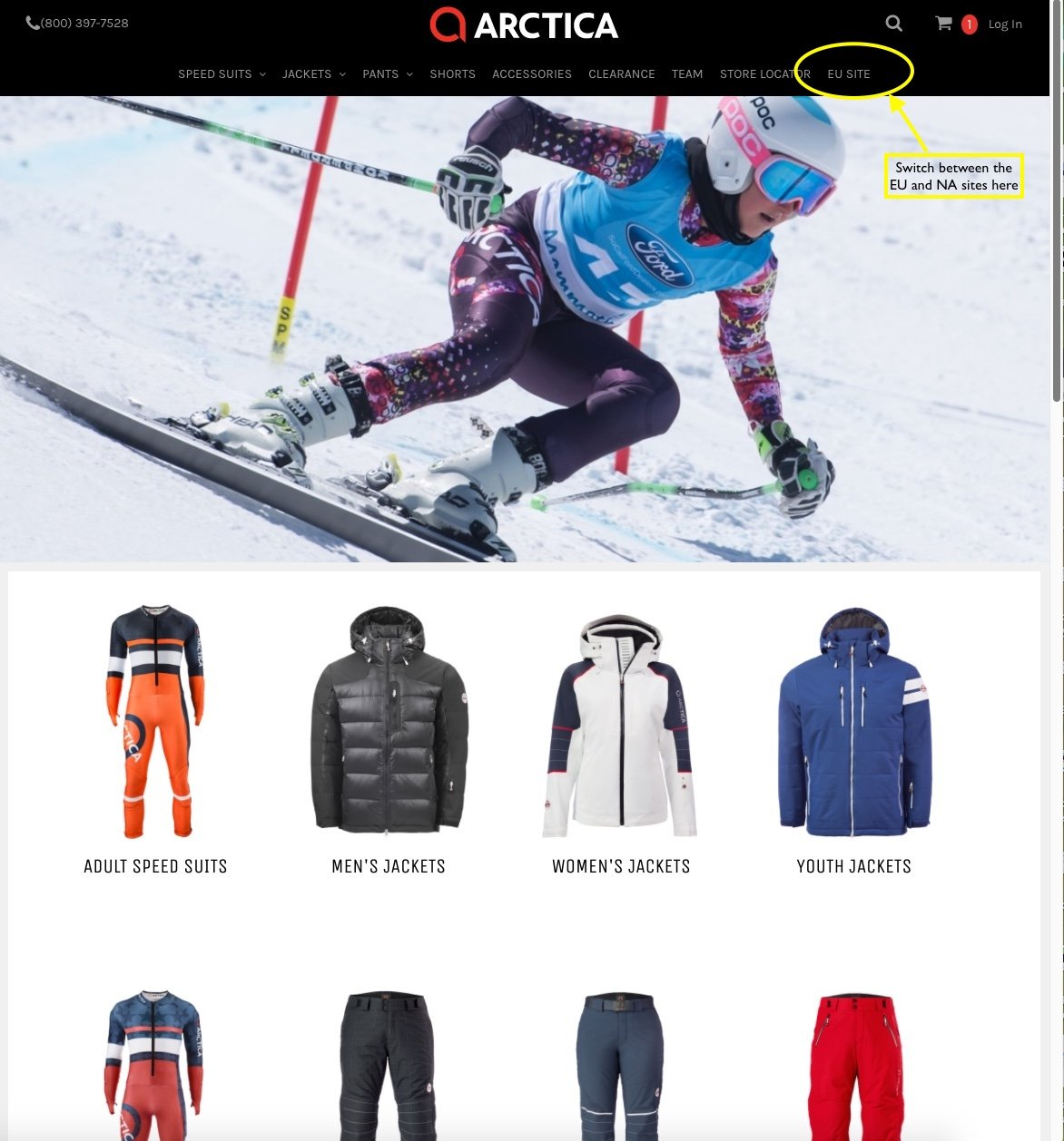 Easily switch from the Arctica NA site to the Arctica EU website to shop worldwide