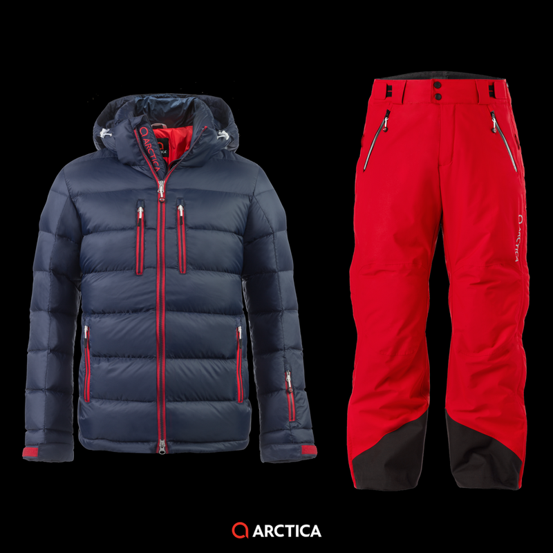 Arctica Classic Down Jacket in Midnight and Arctica 2.0 Side Zip Pants in Red