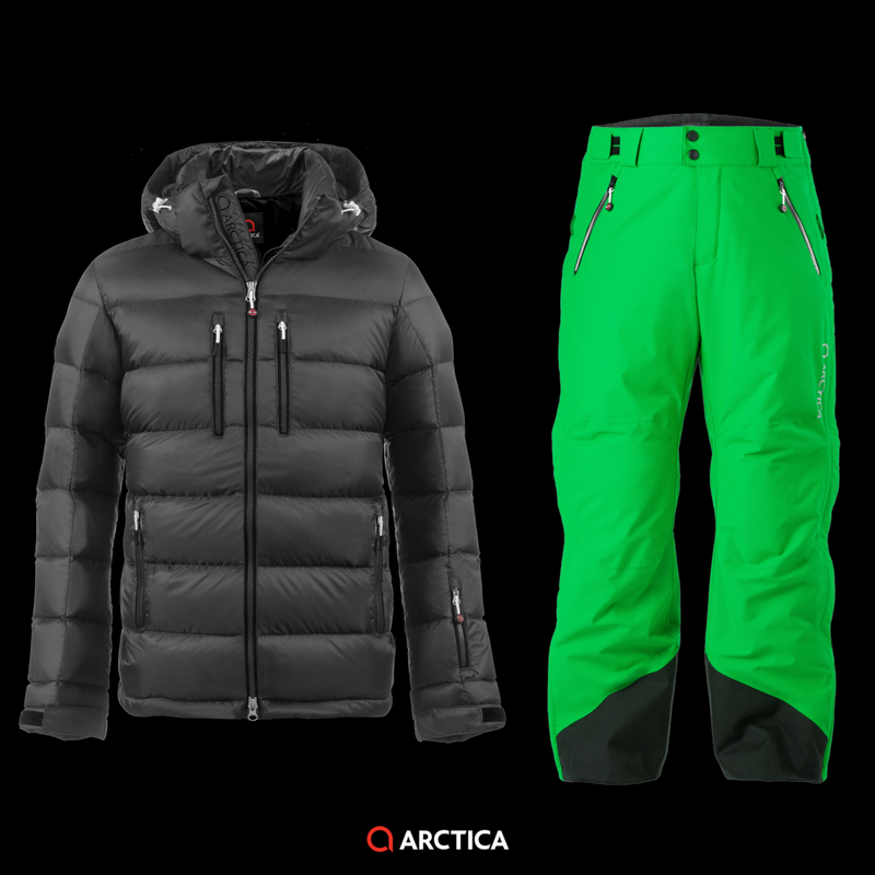 Arctica Classic Down Jacket in Black with 2.0 Pants Lime