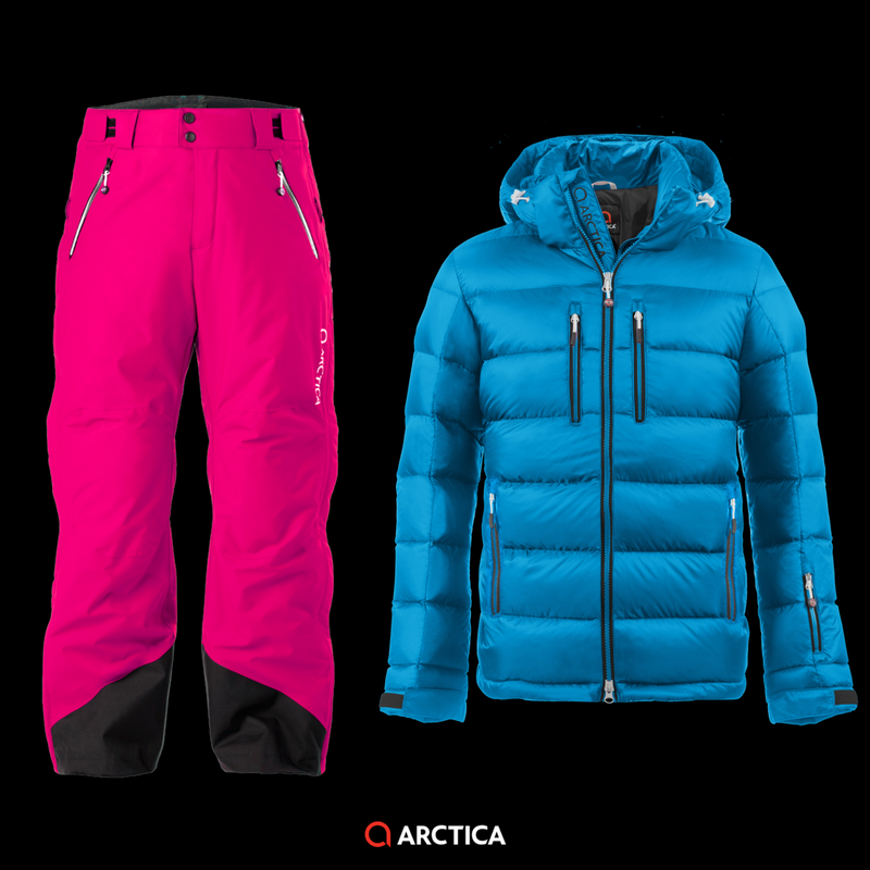 Arctica Classic Down Jacket in Ocean 2.0 Pants in Hot Pink