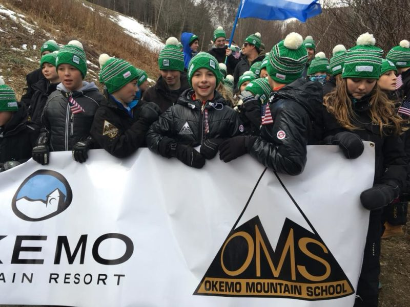Okemo Moutnain School athletes line up for the VARA Parade at the Killington World Cup 2017.