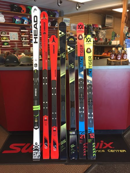 You can buy ski racing gear at Peak Ski Shop Killington in May. They have 2018 race skis from Head, Atomic, Fischer and Volkl in stock.