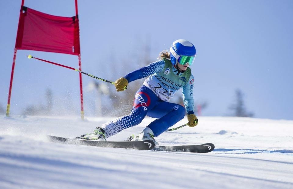 A popular Arctica ski racing suit for girls in blue.
