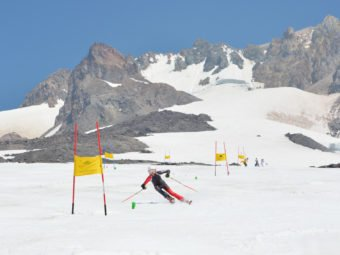 Summer ski racing training at Mt Hood in an essential part of your summer ski racing kit - an Arctica GS Speed Suit