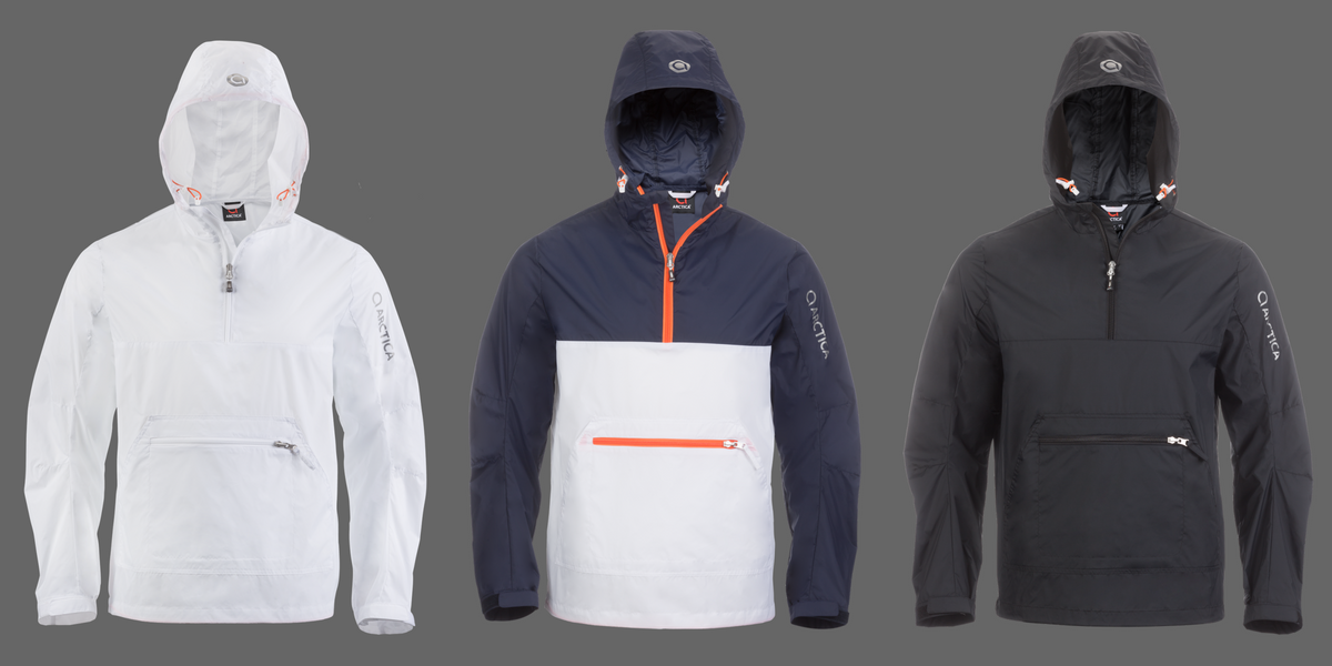The Arctica Packable Windbreaker comes in 3 colors - white, colorblock and black.