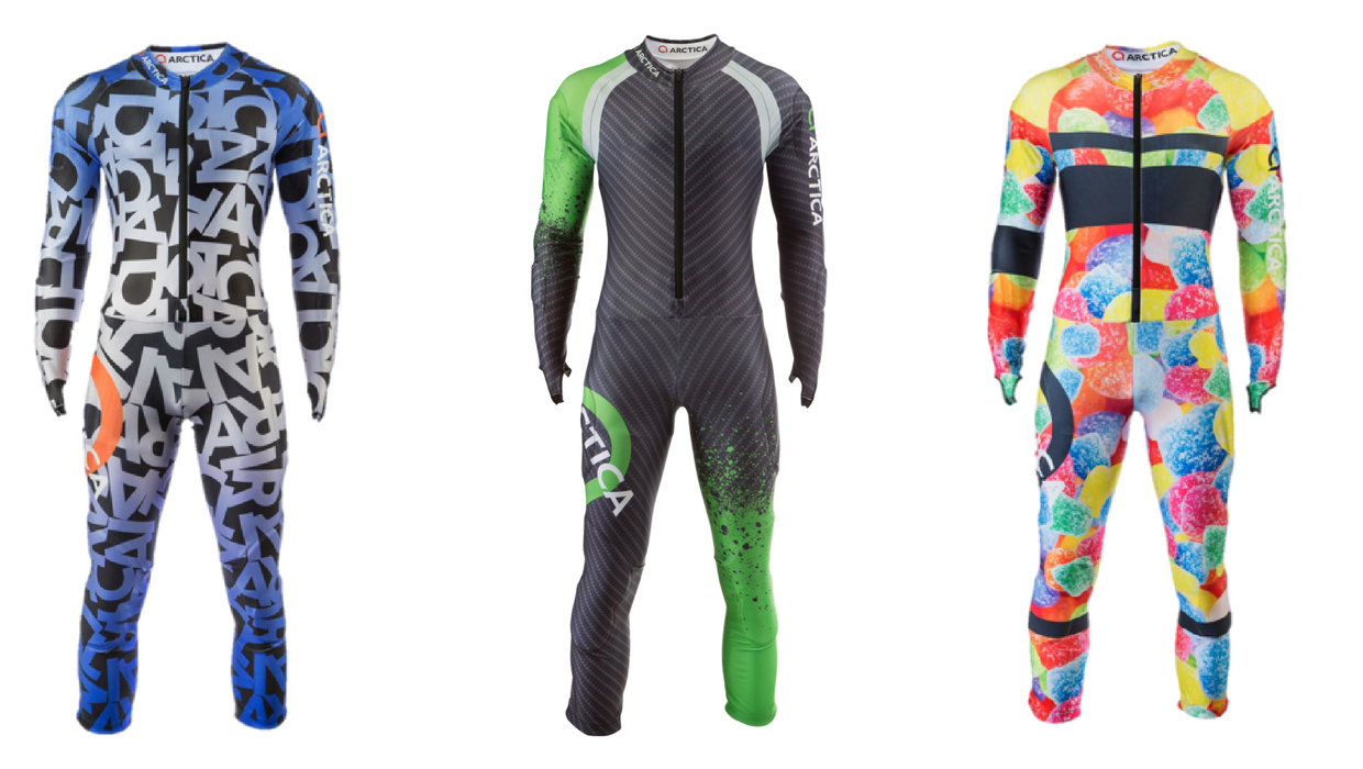 You can buy an alpine ski racing speed suit in summer at arctica.com. These are just 3 of the many suits we have available.