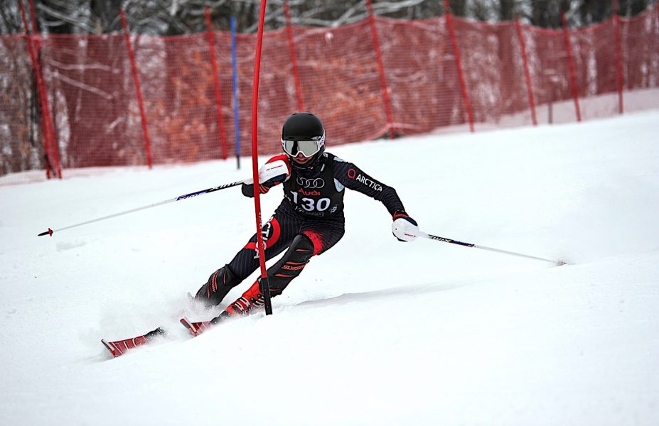 Arctica Ski Racer of the week in his Arctica Cup GS Speed Suit. Photo Credit: Tom Martin, Pico Ski Club Photo Coordinator