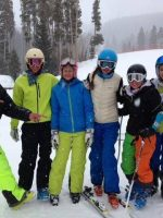 Group of ski racers in Arctica side zip ski pants.