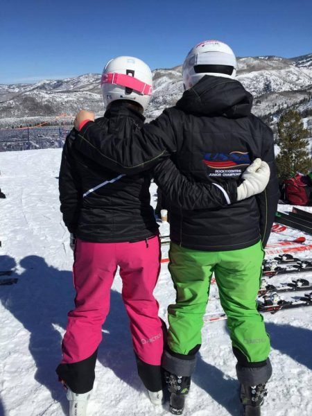 Husband and wife both wearing Arctica side zip ski pants.