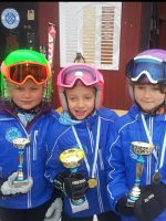 Proud junior ski racers from Huddinge Ski Klubb in Sweden showing off their trophies in their Arctica Speed Freak team Jackets.