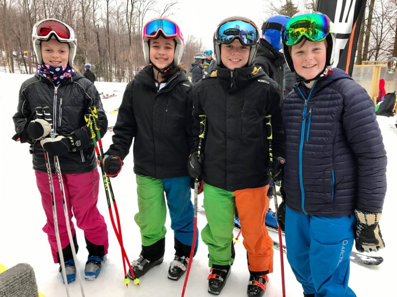 A couple of U12's in their Arctica ski racing apparel at the OMARA Race demo at Okemo Resort.