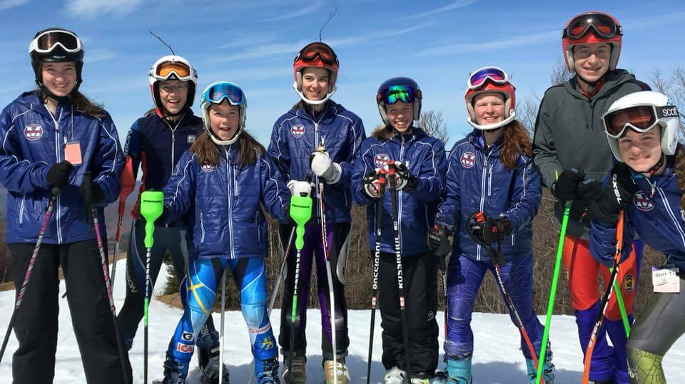 Middlebury Ski Club wearing their Arctica ski team jackets. They also wear their team jackets as an awards jacket on race day.
