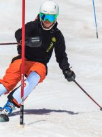 Oregon High School ski racer slalom training in his ski racing apparel from Arctica - the Arctica Side Zip Ski Pants 2.0.