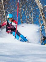 USSA U16 ski racer Shauna White on a slalom course in her Arctica GS Speed Suit.